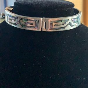 Beautiful inlaid sterling silver bracelet!